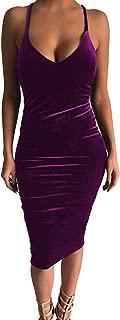 Women's Sleeveless Bodycon Midi Dress Velvet Club Bandage Dress