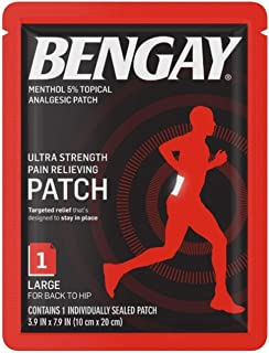 BENGAY Ultra Strength Pain Relief Patch for Muscle Pain On-The-Go, Large 3.9 x 7.9 inches, 1 ea (Pack of 2)