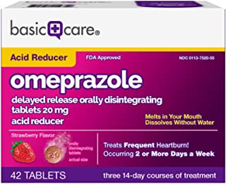 Basic Care Omeprazole Delayed Release Orally Disintegrating Tablets, Strawberry Flavor, 42 Count