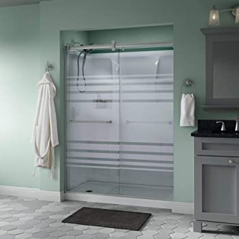 Delta Shower Doors SD3172662 Windemere Semi-Frameless Contemporary Sliding Door 60in.x71in, Bronze Track