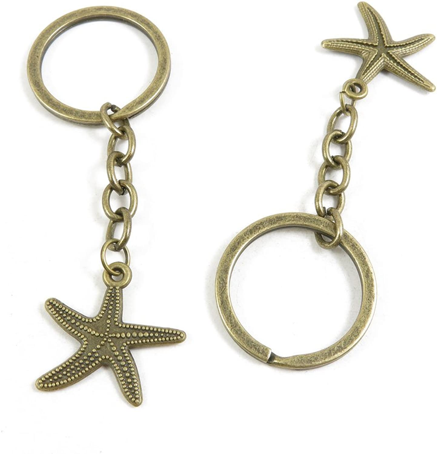 210 Pieces Fashion Jewelry Keyring Keychain Door Car Key Tag Ring Chain Supplier Supply Wholesale Bulk Lots P6MJ7 Starfish Sea Star