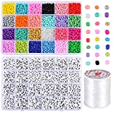 Souarts 4000pcs 24 Perles de Rocaille 4mm Couleurs Perles Poney Loisirs Créatifs +1200Pcs...