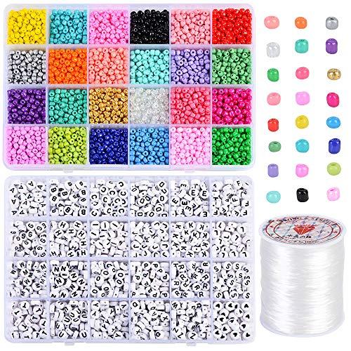 Souarts 4000 perlas de rocalla de 4 mm de colores y 1 rollo de cordón para la fabricación de pulseras y joyas