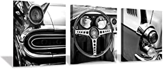 Hardy Gallery Retro Artwork Transportation Tools Prints Pictures: Vintage Car with Dash, Black and White Steering Wheel Front Headlight, 3 Piece Wall Arts Set