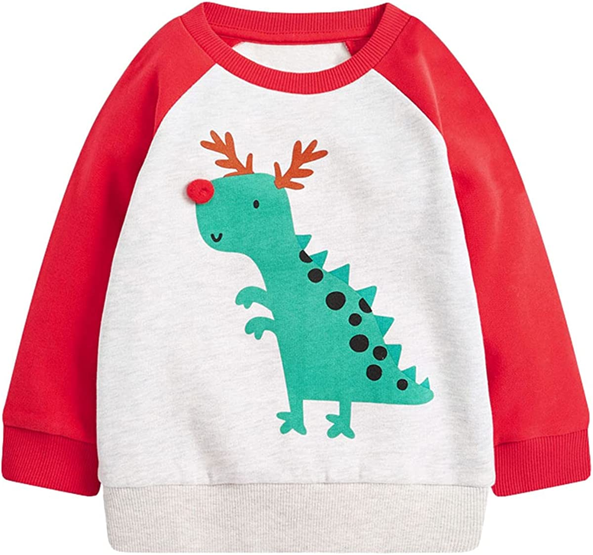 Casual Boys Long-Sleeve Crew Neck Sweater Cartoon Graphic Clothes 100% Cotton 2-7T