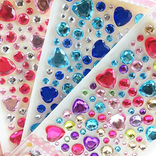 BLOUR Nuevas Pegatinas 3D de Gemas para niños, Pegatina de Diamante, Pegatina de Cristal acrílico, decoración Tridimensional DIY, Diamantes de imitación para niños y niñas