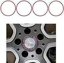 Duoles 4 Pieces Alloy Car Wheel Rim Center Cap Hub Rings Decoration For Mercedes-Benz B C E S CLA CLS GLA GLC GLE GLK GLS Class (red)