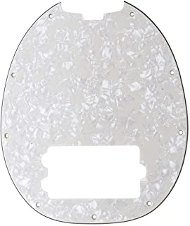 Musiclily 9 Hole Bass Pickguard for Musicman Stingray Bass, 4Ply Parchment Pearl