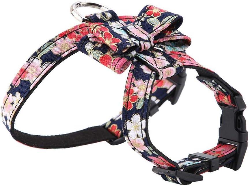 Arnés ajustable para perro, Estampado de flores con estampado de flores Bowknot Arnés para mascotas Pajarita suave Chaleco para mascotas al aire libre Correa Plomo para perros pequeños (Negro M)