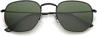 Modern Geometric Hexagonal Sunglasses Metal Slim Arms Neutral Colored Flat Lens 51mm