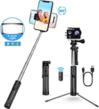 Selfie Stick Tripod with LED, Bluetooth Detachable Remote, Seneo All In One Portable Extendable Selfie Stick Compatible with iPhone Xs MAX/XR/XS/X/8/8P/7/7P/6s, Galaxy S10/S9/S8, Gopro/Small Camera