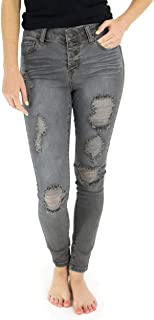 Grace and Lace Women's Distressed Button Fly Front Grey Skinny Jeans