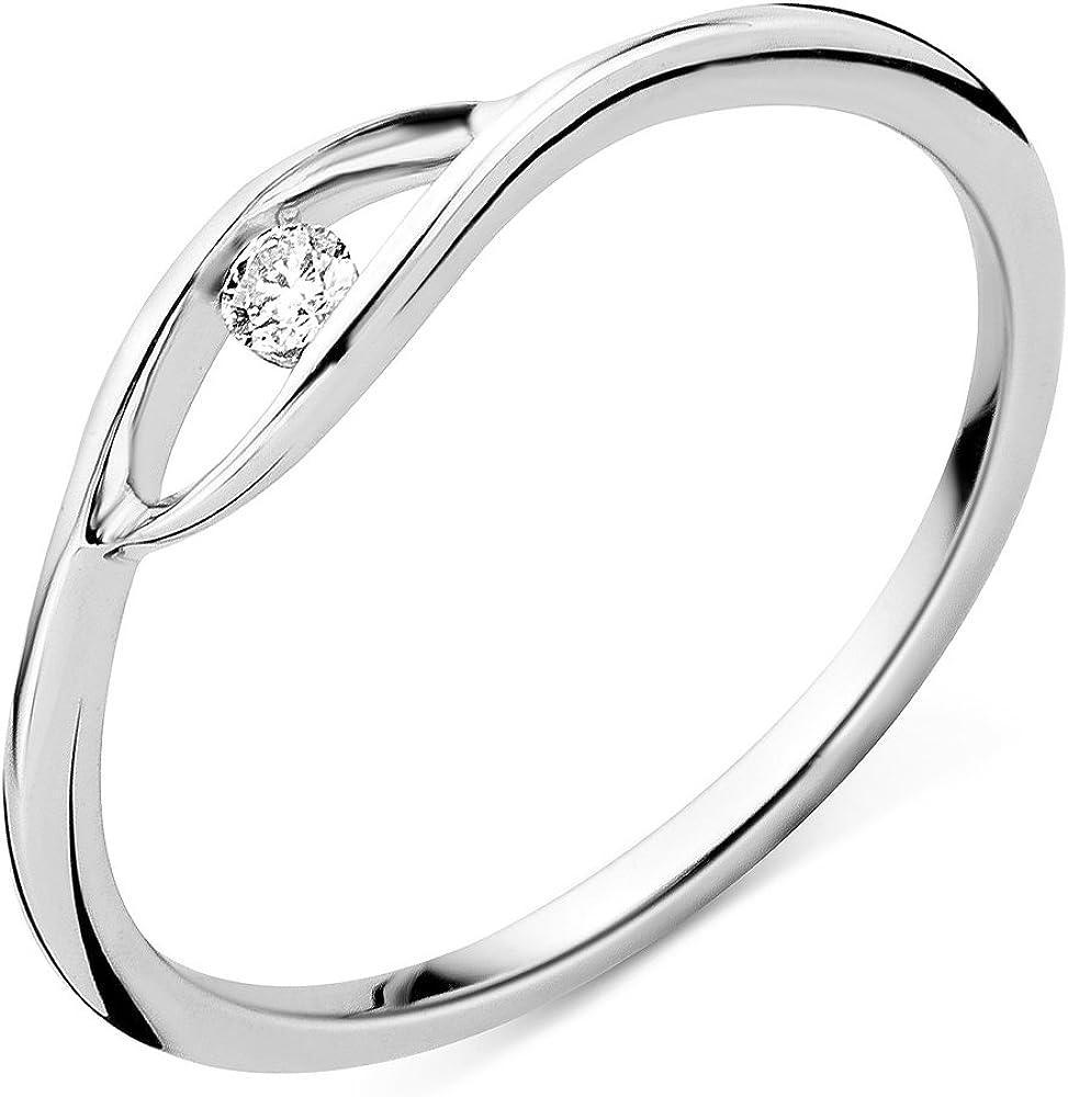 Miore anello per donna  in oro bianco 9 kt (375) ( 1.06 grammi) e diamante con brillante 0.05 ct MSJ9037R50