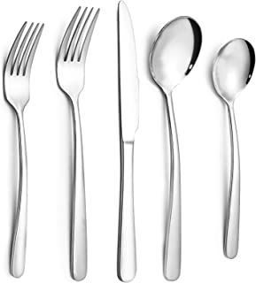HAUSPROFI 30PCS Couverts de Table en INOX pour 6 Personnes, 6 Couteaux/12 Fourchettes/12 Cuillères, Finition Brillante, La...