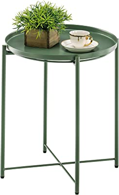 APICIZON Round Side Table, Metal End Sofa Coffee Table with Removable Tray for Small Spaces, Living Room, Bedroom, Balcony, Easy Assembly, Dark Green, 16.9 x 21 Inches