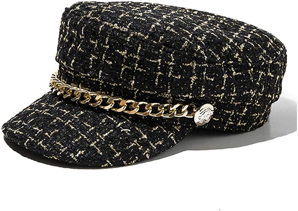 UU BEN Womens Newsboy Ccaps Girls Plaid Tweed Beret Hat Mariner Military Style Visor Hat