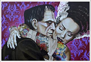 Undying Love by Mike Bell Frankenstein Monster Lovers Tattoo Wall Art Print