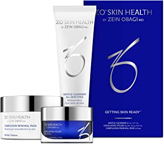 ZO Skin Health Getting Skin Ready All Skin Types, Gentle Cleanser 2 Fl Oz, Exfoliating Polish 0.57 Oz, 30 Complexion Renewal Pads