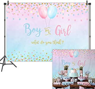 Mehofoto Boy or Girl Gender Reveal Backdrop Blue Pink Dots Balloon Photography Background 7x5ft Vinyl Gender Reveal Baby Shower Party Banner Backdrops