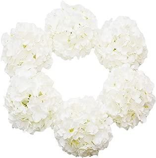 DuHouse Artificial Bigger Silk Hydrangea Flower Heads with Stem Fake White Hydrangea Flowers for Wedding Home Garden Centerpiece Pack of 6