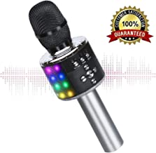 Wireless Bluetooth Karaoke Microphone with Multi-color LED Lights, 4 in 1 Portable Handheld Home Party Karaoke Speaker Machine for Android/iPhone/iPad/Sony/PC (Space gray)