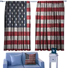 Mannwarehouse USA Noise Reduction Curtain Fourth of July Independence Day Adorn National Democracy Art Rough Wood Print Noise Reducing 55