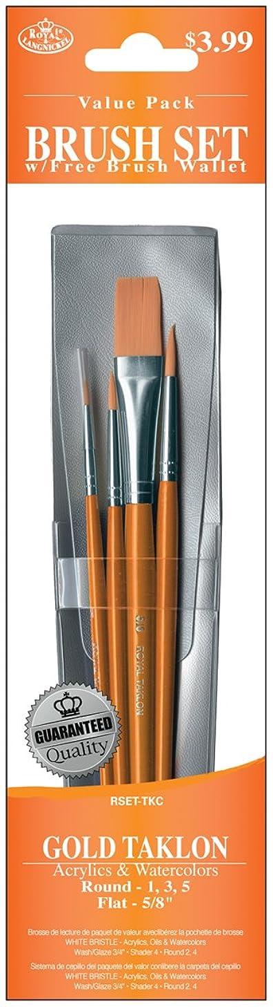 Royal & Langnickel Royal Zip N' Close Gold Taklon Round and Flat 4-Piece Brush Set