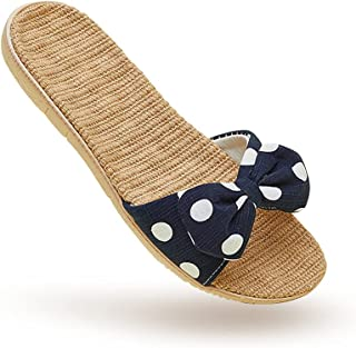 Home Slipper Linen Bow Japanese Style for Woman, Cozy Non-Slip Indoor and Outdoor, White, Navy and Green