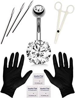 SOTICA Belly Piercing Kit with 14G Surgical Steel Piercing Needle Belly Botton Piercing Kit Navel Piercing Kit With Piercing Clamps Piercing Jewelry for Body Piercing Supply (silver)