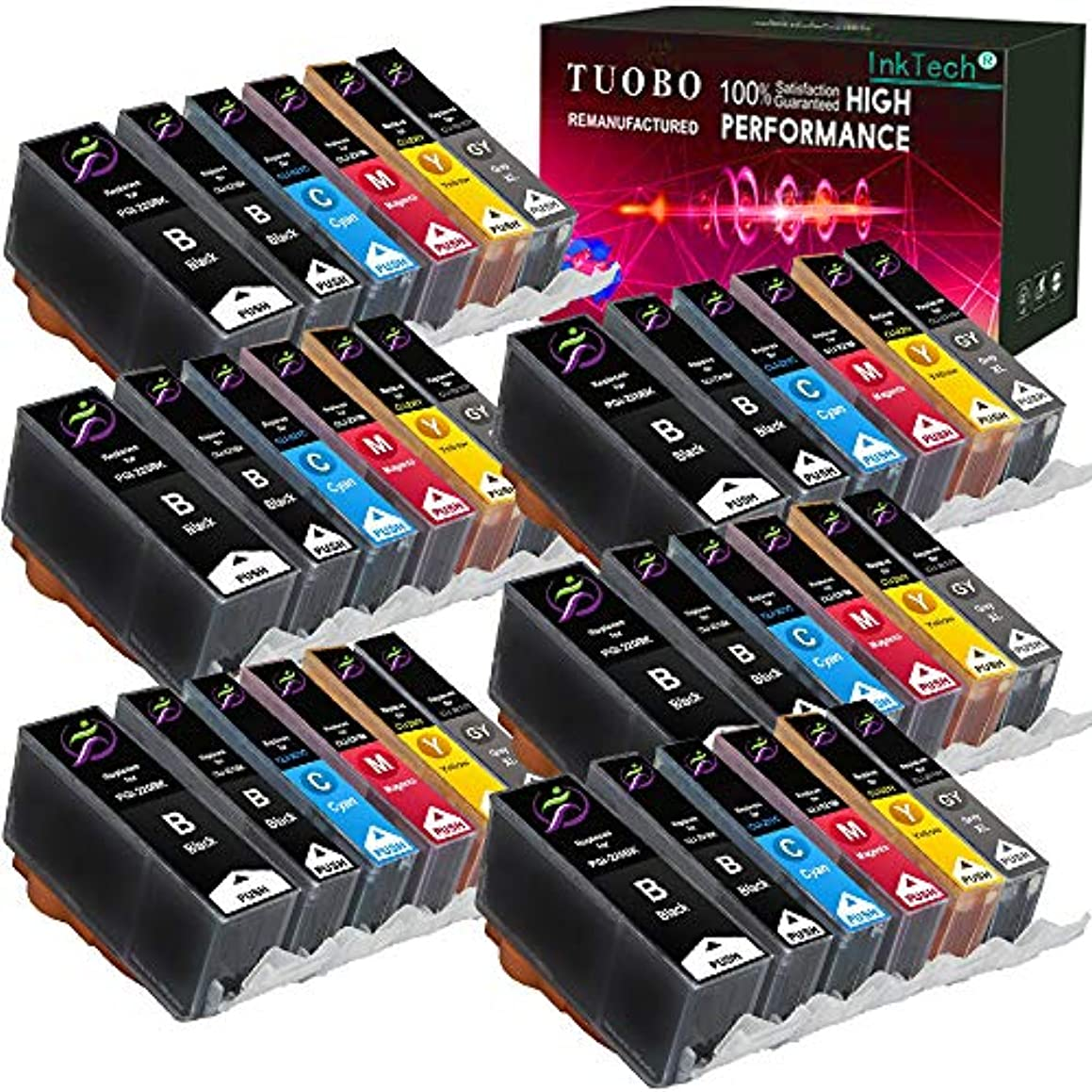 Tuobo 36 Pack PGI-220 CLI-221 and Gray with New Chip Ink Cartridges Replacement Compatible with PIXMA IP3600 IP4600 IP4700 MX860 MX870 MP560 MP620 MP620B MP640 MP980 MP990 PMFP1 PMFP3 SFP1 Printer