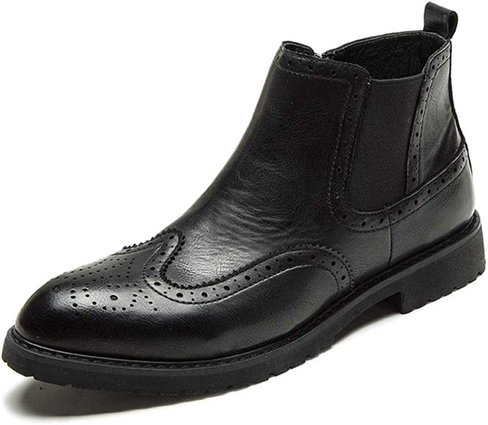 XJH Mens Black//Brown Chelsea Boots,Leather Slip On Cap Toe Boots with Comfortable /& Lightweight Walking Technology