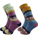 """2 Paar hochwertige Damen Norweger Socken - Wollsocken – im """"skandinavischen"""" Erscheinungsbild - wie selbstgestrickt - dick und warm - ohne Gummidruck - ohne drückende Zehennaht - hoher Wollanteil (35-38, farbig 3)"""