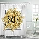 Not applicable Cortina de baño Venta de Oro en Papel de Confeti Amarillo Comprar para Vender Letrero de Marketing Encabezado de Compras Cortina de baño Abstracta,72X72 in