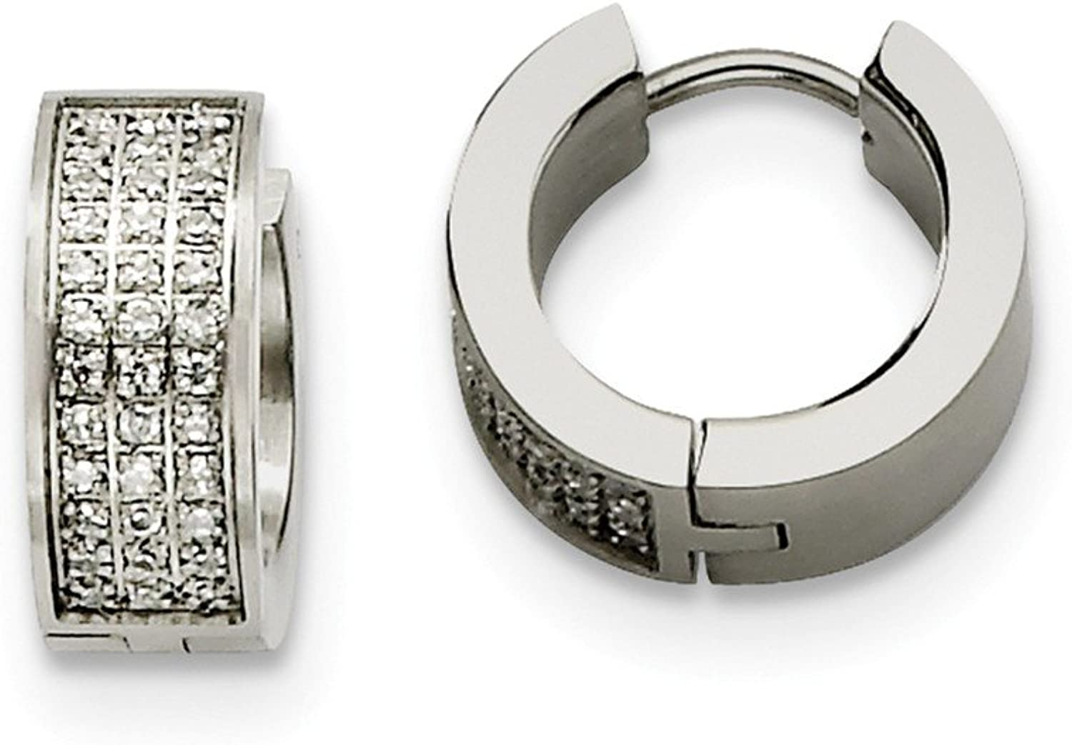 Beautiful Stainless Steel CZ Stones Brushed & Polished Hinged Hoop Earrings