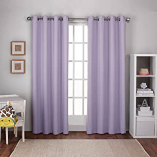 Exclusive Home Curtains Textured Woven Blackout Window Curtain Panel Pair with Grommet Top, 52x96, Lilac Purple, 2 Piece