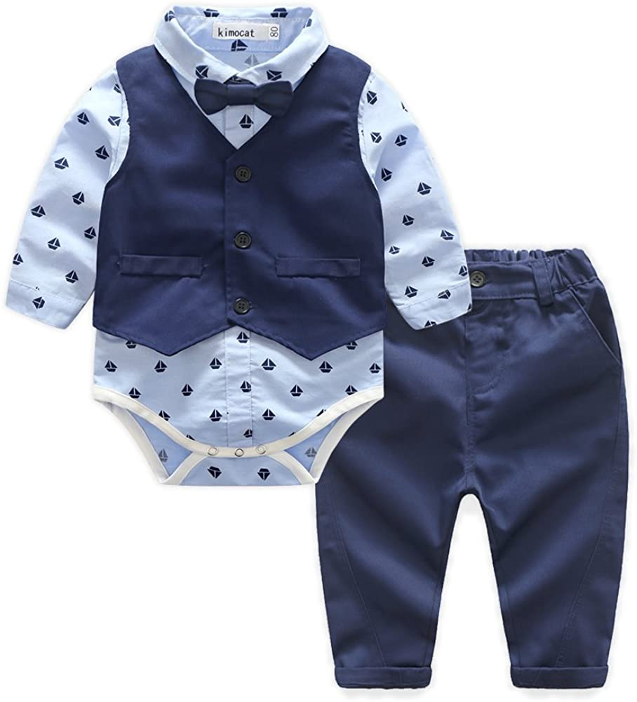Baby Blue Suits Set Long Sleeve Casual Onesie Dress Shirts+Vest+Bowtie+Pants Outfits