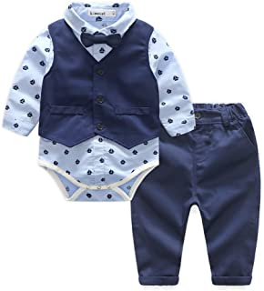 Kimocat Baby Blue Suits Set Long Sleeve Casual Onesie Dress Shirts+Vest+Bowtie+Pants Outfits