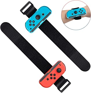 LANMU Wrist Bands Compatible with Nintendo Switch Joy-Cons Controller,Adjustable Strap for Just Dance Game 2019 (Blue and Red)