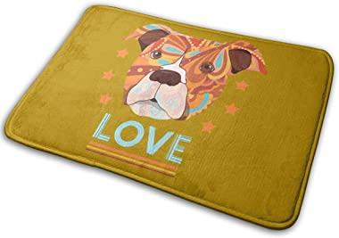 The Love of Pit Bull Carpet Non-Slip Welcome Front Doormat Entryway Carpet Washable Outdoor Indoor Mat Room Rug 15.7 X 23.6 i