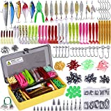 PLUSINNO Fishing Lures Baits Tackle Including Crankbaits, Spinnerbaits, Plastic Worms, Jigs, Topwater Lures , Tackle Box and More Fishing Gear Lures Kit Set, 102/302Pcs Fishing Lure Tackle