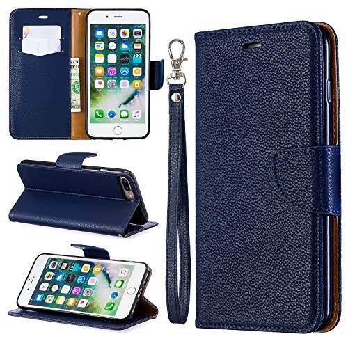 Capa para iPhone 8 Plus, capa para iPhone 7 Plus, capa carteira ZERMU Litchi Grain estilo à prova de choque couro PU premium com suporte para cartão de crédito/compartimentos e cordão de pulso para iPhone 8 Plus/7 Plus 5,5 polegadas