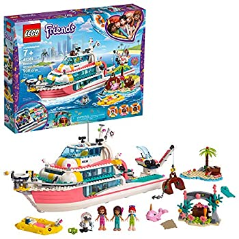 LEGO Friends Rescue Mission Boat 41381 Toy Boat Building Kit with Mini Dolls and Toy Sea Creatures Rescue Playset Includes Narwhal Figure Treasure Box and More for Creative Play  908 Pieces