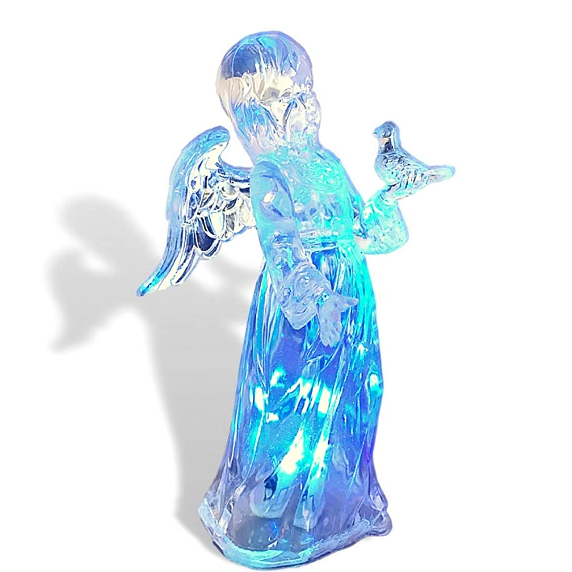BANBERRY DESIGNS Light Up Angel - LED Color Changing Lights Acrylic Angel Statue Holding a Bird - Angel Figurines