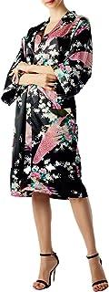 iB-iP レディーズ 孔雀と梅の花のファッション和風着物風 ミディ バスローブ