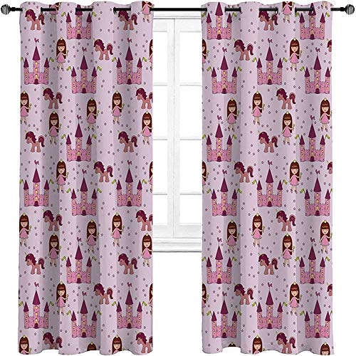 carmaxshome Kids Room Divider Curtain 84 inch Length, Princes with Castle and Unicorn Stars Background Cartoon Drawing Style Personalized Curtains 2 Panels - Pale Mauve Pink Brown