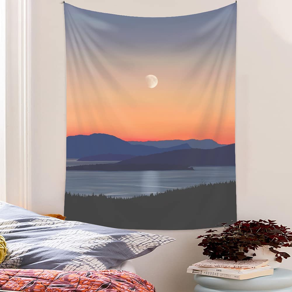 Boho Nature Tapestry Aesthetic Vertical: Sunset Indigo Lake Mountain Tapestries for Bedroom - Forest Tapestry Tree Landscape Wall Hangings Artistic Bohemian for Men Women Dorm Home(Small: 51.2