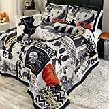 The Lakeside Collection Nevermore Halloween Bedding Quilt Set with Accent Pillow - 4 Pieces - Full/Queen