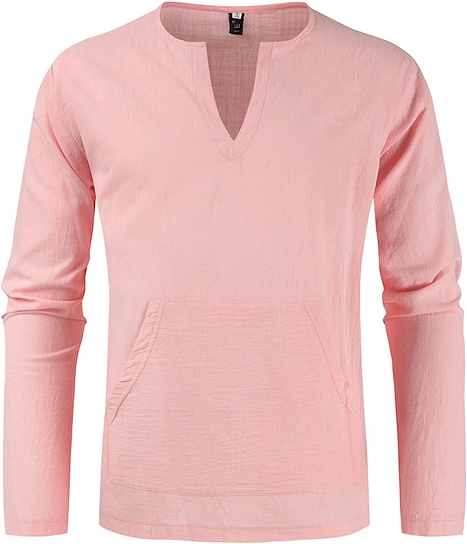 LEIYAN Mens Fashion Button Henleys Shirts Autumn Winter Long Sleeve V-Neck Slim Fit Moisture Wicking Performance Tops
