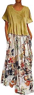 Yivise Mujer Dos Piezas Vestido de época Floral Estampado Floral O Cuello Camiseta de Manga Corta Tallas Grandes Bolsillos Vestido