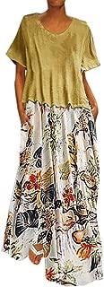 Women Skirt Plus Size Bohemian O-Neck Floral Print Vintage Sleeveless Long Maxi Dress Slim Fit Comfy Dress